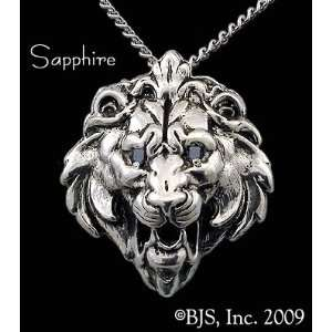Lion Head Necklace, Sterling Silver, 24 long rhodium plated chain