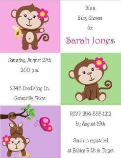 24 Sweet Little Monkey Baby Shower Invitations