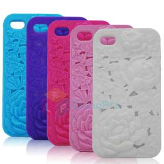 3D Sculpture Design Rose Flower silicone Case Cover for Apple iPhone 4