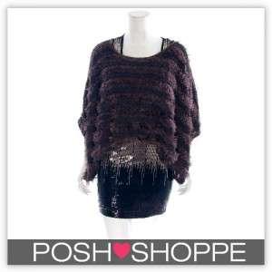 Womens Plus Size Clothing Poncho Top Faux Fur wContrast Trim Sexy US