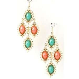 Coral, Turquoise and Gold Earrings   Lead and Nickel Free Jewelry