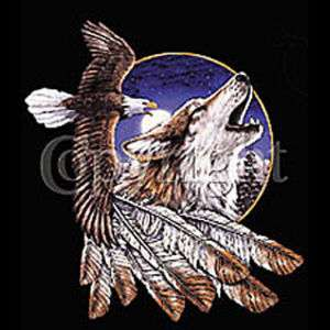 NATIVE AMERICAN EAGLE AND WOLF BLACK T SHIRT SIZE LARGE