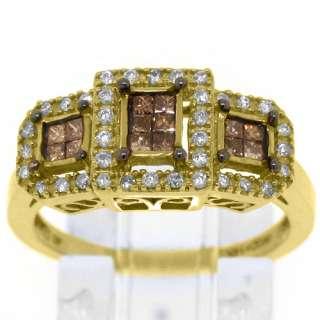 CHOCOLATE BROWN CHAMPAGNE DIAMOND ANNIVERSARY RING 14K YELLOW GOLD