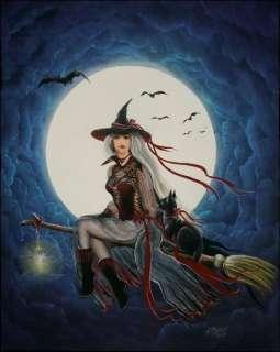 Folk Art Halloween Witch Moon Cat Beautiful Witch