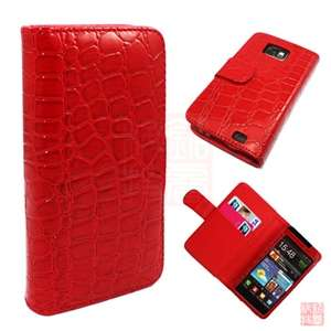 Red Croco Folio Wallet Leather case Cover For Samsung Galaxy S2 II