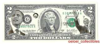 President Obama 2 Dollar Bill 01/20/2009 44th Auto Mint