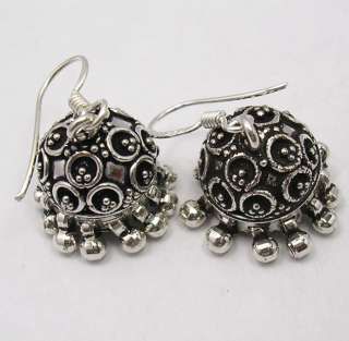925 Sterling Silver JHUMKA India TRIBAL Earrings 3.4CM