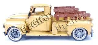 Vintage Hand Made Art Bar Decor Tin Metal Car Model Farm Truck Yellow