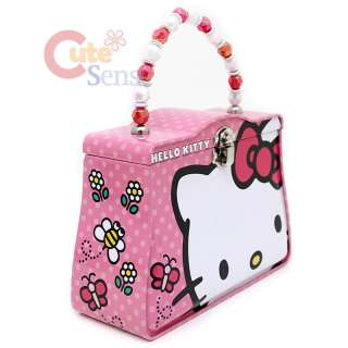 Sanrio Hello Kitty Tin Box Lunch Case Jewelry Box w/ Beads Handle Big