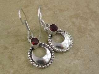 beautiful   red GARNET quartz ^^ ** silver earrings (1.5 in)