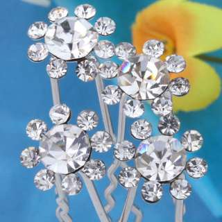 50p Lot Clear Crystal Sunflower Wedding Bridal Hairpins