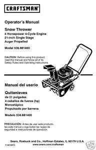 Craftsman Snow Thrower Manual Model No.536.881400