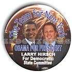 president barack obama 2008 pin button nyc larry hirsch one