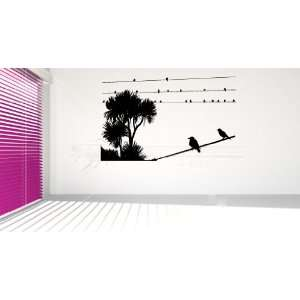 Birds on a Wire with Palm Trees Vinyl Wall Decal Sticker