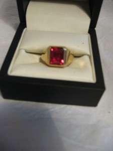 18kt HGE Mens Simulated Garnet Gold Ring,Size 9