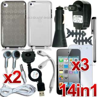 14 ACCESSORY CASE+CAR WALL CHARGER FOR IPOD TOUCH 4TH 4