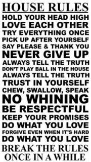 House Rules 17 Rules To Live By. .Vinyl Wall Art Decal Sticker