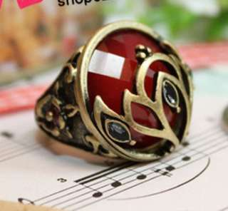 Vintage Style Bronze Flower Rhinestone Crown Red Gemstone Noble Ring
