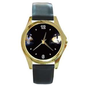 black cat Gold Metal Watch