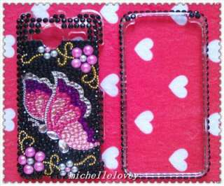 BUTTERFLY RHINESTONE BLING FULL COVER CASE FOR HTC EVO Shift 4G ES8