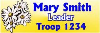 Daisy Yellow Name Tag Badge Custom Scout Leader Daisies