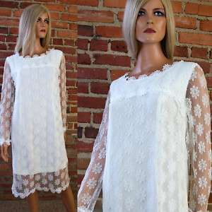 Vtg 60s Mod SHIFT Sheer White Daisy Lace Wedding Mini DRESS Rayon