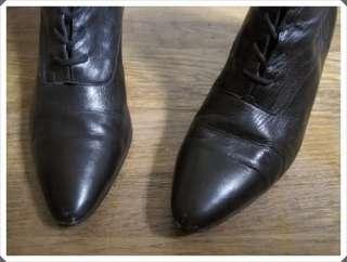 VTG 80s 90s Nine West Black Leather Granny Boots 7 1/2 Grunge Boho