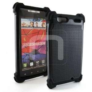 Dual Layer Black Hard Rubber + Black Soft Silicone Skin Case 2PC Cover