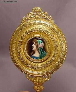Beautiful Antique French Enamel Gilt Bronze Mirror