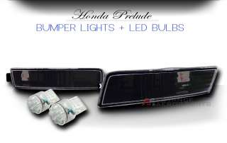 JDM Black Housing Front Bumper Signal Lights With 7440 Super White