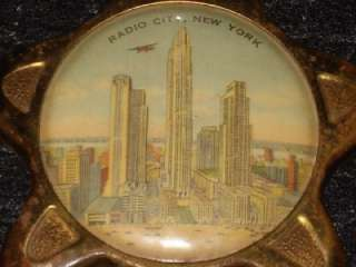 Vintage RADIO CITY Building NEW YORK City NY NYC THERMOMETER Brass Key
