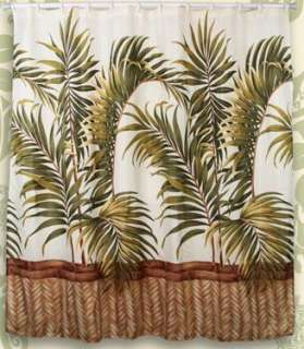 Palm Leaf Design Hawaiian Quilt Print Bathroom Fabric Shower Curtain