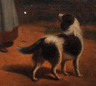 Lacroix Antique Oil Painting Woman Child & Dog Scene Genre 1850