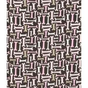 Espresso & Pink Dog Bones Fleece Fabric: Arts, Crafts