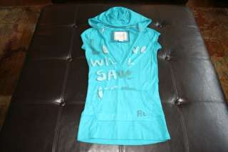 American Eagle Womens XS Sleeveless Hooded Shirt Top