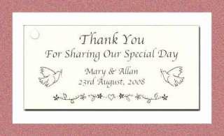 100 CUSTOM HANG TAGS FAVORS WEDDING BRIDE THANK YOU