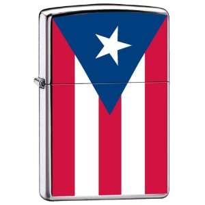 Zippo Custom Lighter Puerto Rico Flag High Polish Chrome