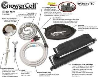 Portable Water Heater Shower solar sun hot camp fire coil