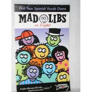 Mad Libs, En Espanol, First Year Spanish Vocab Game (Teachers