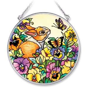 Amia 6122 Bunny Design Hand Painted Glass Suncatcher with Chain, 4 1/2