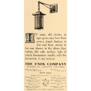 1909 Ad Enos Company Lighting Fixture Arts Crafts   Original Print Ad