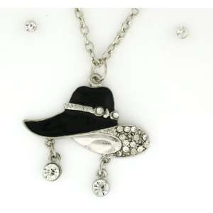 Black Epoxy Fedora Hat with Clear Austrian Crystals Necklace and
