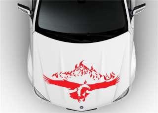 HOOD VINYL STICKER DECALS MURAL TRIBAL TATTOO CAR FLAMING SCULL 4X4