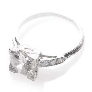 Antique Art Deco Platinum 2.2ct Diamond Engagement Ring: Jewelry