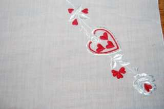 Vintage Handkerchief HEARTS embroidered Valentines Day Decor Hanky