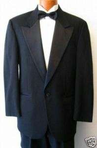 Black Alexander Julian 1 Button Peak Tuxedo Jacket 40R