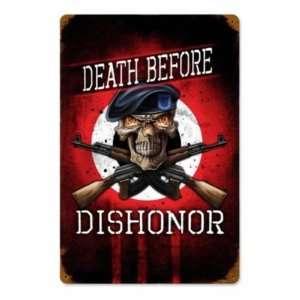 Death Before Dishonor Vintage Metal Sign Skull: Home
