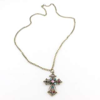 Vintage Retro Antique Gold tone Pink Crystal Cross Necklace
