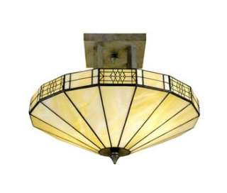 MISSION SEMI FLUSH FIXTURE TIFFANY STYLE STAINED GLASS HANGING PENDANT