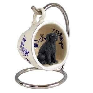 Flat Coated Retriever Blue Tea Cup Dog Ornament